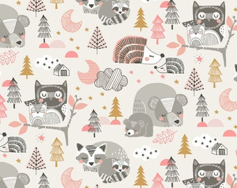 Sweet Dreams Sleepy Head Pink Fabric Forest Animals by Blend