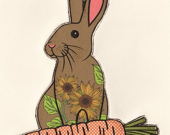 Bunny (Sunflower) Original Editioned Collagraph Print