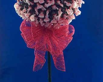 TOOTSIE ROLL TOPIARY Tree Candy Bouquet With Large Red Bow