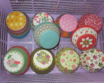 Owl Flower Red Green Dot Pattern Baking Cups Muffin Cases Paper Cupcake