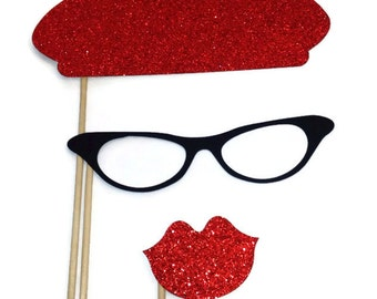 Photo Booth Props - Beret with Glitter 3 piece set- Valentines Day Photo Booth Props