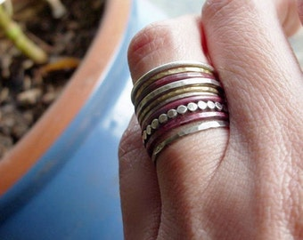 Mixed Metals Stacking Rings Set of 10 in Sterling Silver, Fire Stained Copper, and Brass or 14k Gold Fill