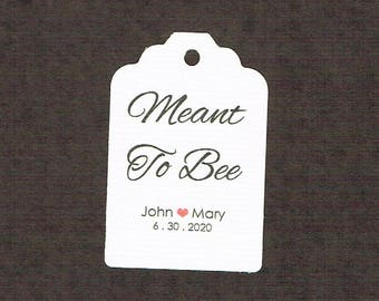 Wedding Tags, Set of 50, Meant To Bee Tag, Printed Tags, Wedding Shower Tags, Tags, Wedding Favor, Thank You Tag