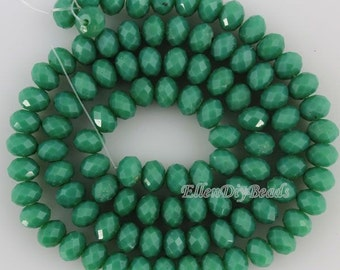 100 Pieces,New 6mm Romantic Green Rondelle Faceted Crystal Beads,Green Crystal Beads,1Strand,Gemstone Beads,Supplies-BR059