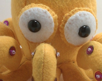 Octopus plush- golden yellow with purple or Silver with gold suckers