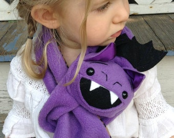 Purple Bat Stuffed Animal Scarf, Short or extra long for kids or adults, bat wings and fangs MADE TO ORDER