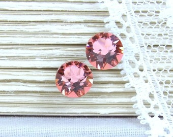 Peach Studs Rhinestone Studs Peach Stud Earrings Crystal Studs Surgical Steel Studs Peach Jewelry