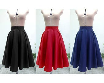 SALE Midi Skirt / Womens Skirts  / Circle Skirt / High Waisted Skirt / Midi Skirt Women / Skirt / Vintage Style Skirt / Cotton Skirt