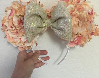 Floral pastel custom Mickey Mouse ears