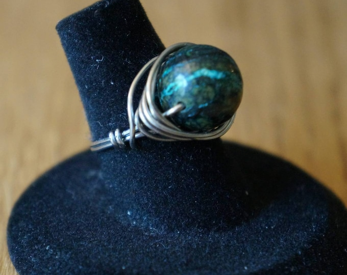Featured listing image: SIZE 6 Seraphinite Steel Ring