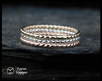 Set of 3 - Twisted skinny rings. 14k Gold filled (Rose and yellow), Sterling Silver, thin ring, 0.8mm ring. Thin ring, stacking ring.