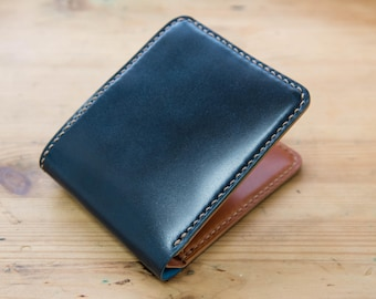 CUSTOMIZABLE - Navy Blue and Whiskey Shell Cordovan Leather 6-Slot Two-tone Billfold Wallet for men