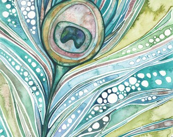 Green Peacock Feather 8.5 x 11 print of watercolour artwork in whimsical blue green turquoise moss olive rusty blush rose earth tones art