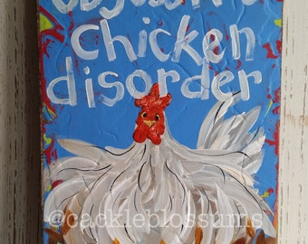 Folk Art #252 Funky colorful chicken signs