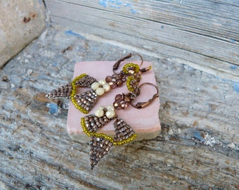 Art deco metallic beige rose and yellow earrings with tiny snails on the ears