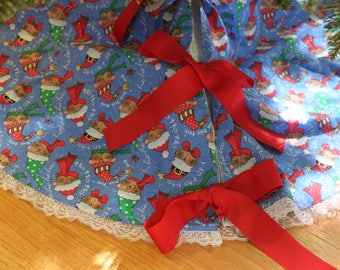 Christmas Tree Skirt - Handmade 42 in With Holiday Cats on Blue with iridescent Trim with red ribbon ties