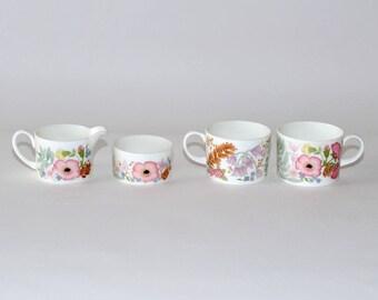 Wedgwood Bone China England Meadow Sweet Cups Sugar Bowl Creamer, Set of 4