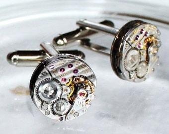 LONGINES Steampunk Cufflinks: Swiss Luxury Silver PINSTRIPE Vintage Watch Movement Men Steampunk Cufflinks Cuff Link  Men Fathers Day Gift