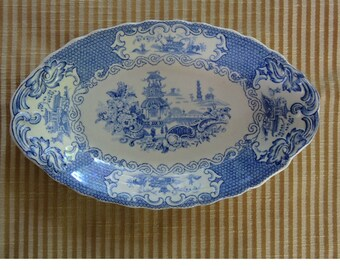 Vintage Blue And White Oval Serving Plate Allertons Made In England Chinese Design