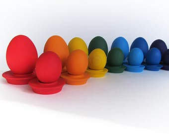 Easter gift - Wooden egg - Wooden Rainbow EGGS - 7 Easter Eggs and Cup - Pretend Play - Play Food - Montessori Toddler Toy - Natural Toy