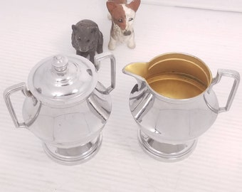 Vintage Westinghouse Sugar and Creamer Set, 1 Cup Volume, Chrome Look, Lined Interior