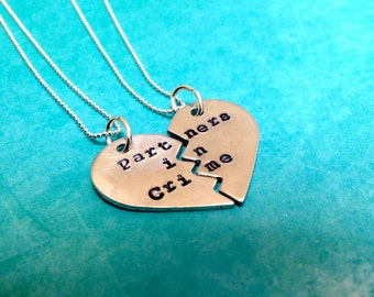 Partners in Crime Hand Stamped Broken Heart Necklace Set- In Brass, Copper, or Aluminum