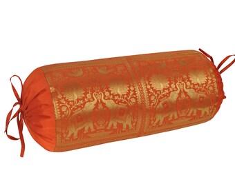 Silk Sofa Cushion Bolster Cover Elephant Brocade Round Pillow Back Roll