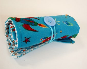 Crayon Roll - To The Moon, Crayon case, Roll-up case, pencil organizer