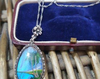 Thomas L Mott Vintage Sterling Silver Necklace Pendant, Butterfly Wings,art Deco