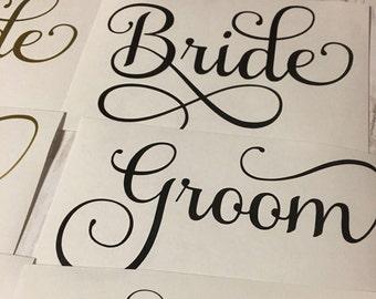 Wedding Party Decal Set, Vinyl decals, Wedding Decals, Personalized Wedding