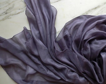 REDUCED Silk Bellydance Veil Pewter Silk Veil Silver Silk Dance Veil