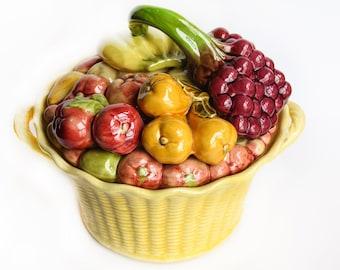 Vintage California Pottery Basket Weave Fruit Lid ~ Pottery Bread Basket / Cookie Jar ~  California Whittier Pottery WP USA
