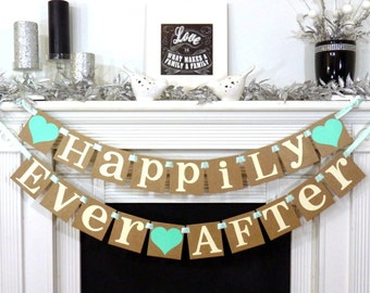 Wedding Sign / Happily Ever After Banner / Wedding Banner Sign / Wedding Decoration / Rehearsal Dinner / Photo Prop- Signage