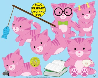 Baby Pink Kitties digital clipart set