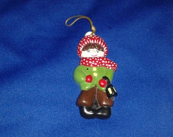 Vintage Christmas Tree Ornament painted ceramic kid child 1975 cute  colorful Holiday decoration Holiday gift holiday collectible