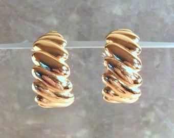 Avon Scalloped Hoops Earrings - Gold Wave Hoops - Post Earrings - Large Gold Earrings - Vintage 1992