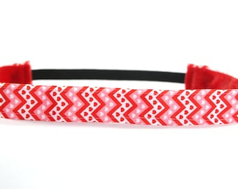 Valentine's Day Headband for Adults, Chevron Nonslip Headband, Heart Accessory, Gift for Her, Running Headband, Fitness Accessory, CrossFit