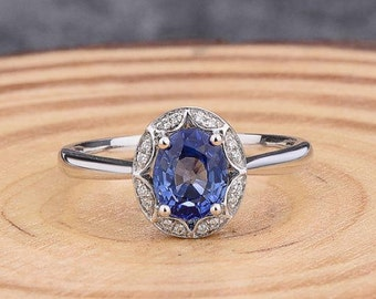 Natural Blue Sapphire Ring, 1.2 Carat Oval Sapphire Ring with Diamonds in Solid 14K White Gold, Sapphire Engagement Ring