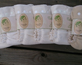 5 pc Hemp organic cotton cloth diaper pack + 1pc merino wool cover / cloth nappy set / Handmade Lithuanian / organic