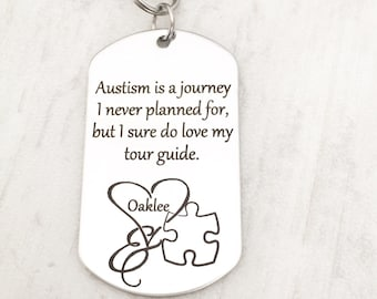 Autism Awarness Gift - Autism Saying Gift Keychain- Gift for an Autism Mom - Personalized Autism Gift with Child's Name