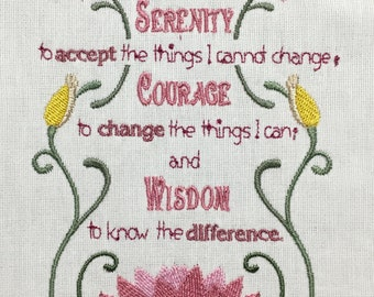 God Grant Me The Serenity Prayer Machine embroidered quilt panel