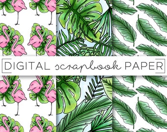 Tropical Foliage Flamingo Digital Scrapbook Paper Pattern Stationary / Palm Frond Doodles / Print Background Instant Download Printable Pink