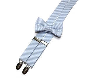 Boys Seersucker Suspenders~Light Blue Seersucker~Boys Suspenders~Wedding Suspenders~Wedding Accessory~Seersucker Bow Tie~Boys Suspender Set