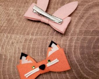 Fox hair clip. Rabbit hair clip.  Felt hair clip set. Bunny hair clip. Fox hair accessories. Red fox. Pink rabbit