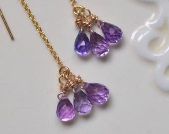 Dainty Gemstone Threader Earrings, Purple Kunzite Quartz, Gold Filled Chains, Earstrings, Pretty Spring Jewelry, Free Shipping