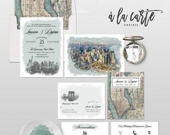 New York City Manhattan Destination illustrated wedding invitation Rustic Urban wedding NYC Brooklyn map artist watercolor - Deposit Payment