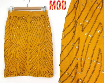 Super Unique Vintage Goldenrod Yellow Leather Skirt with Amazing Beading!