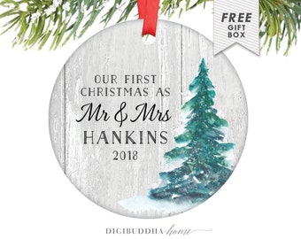 Rustic Newlywed Christmas Ornament Married Wedding Ornament, Custom Christmas Ornament Wedding Gift, Our First Christmas Married Ornament