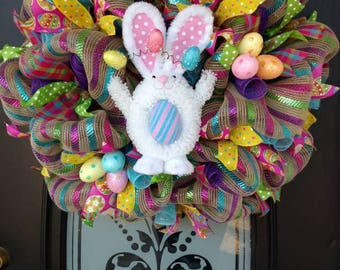 Easter wreath, Easter Bunny wreath, Spring wreath, Front door wreath