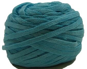 Flat Braid, 100% Organic Cotton, 25 Yards, Hand-Dyed, Turquoise